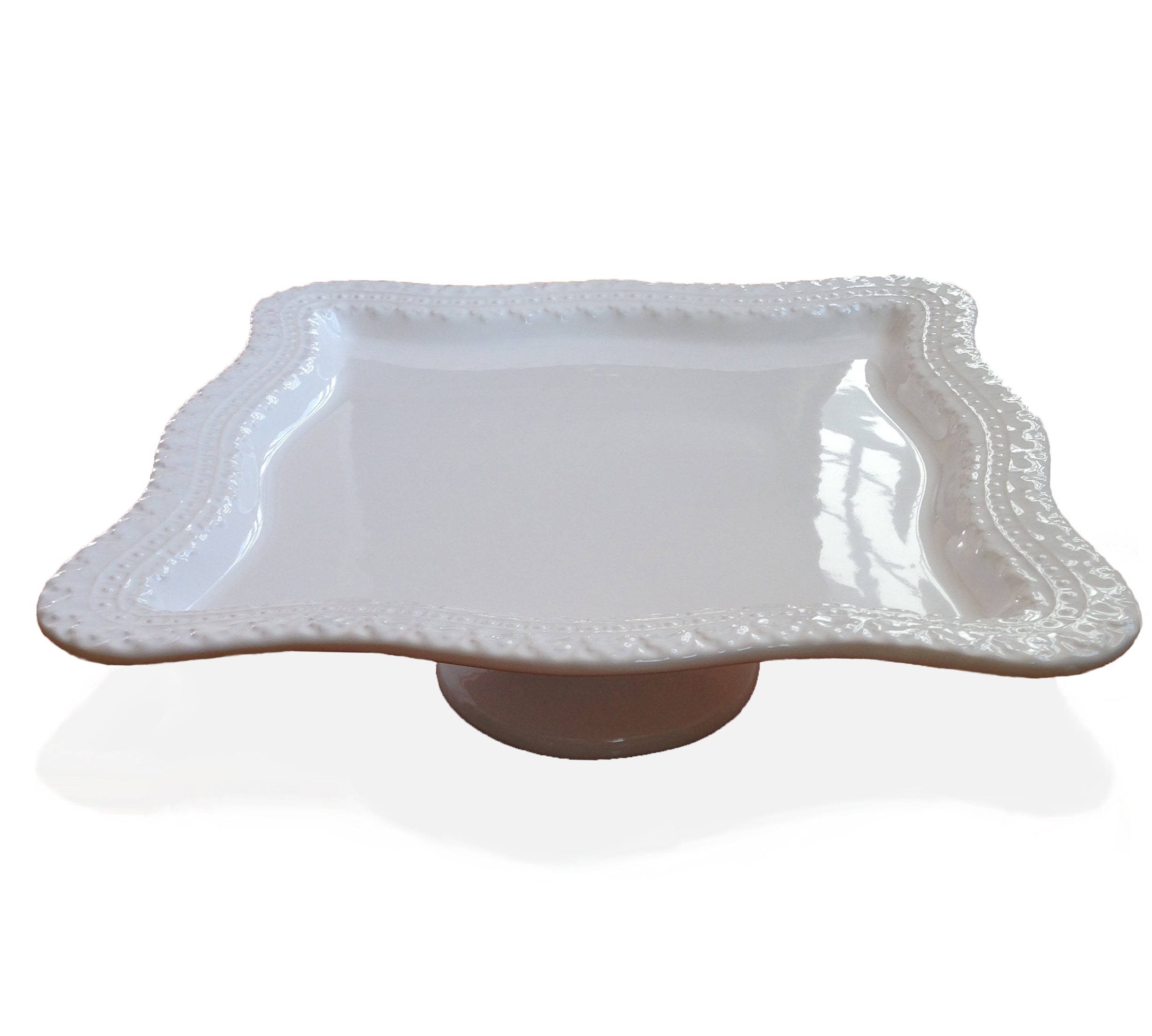Footed Cake Plate Square with Border White
